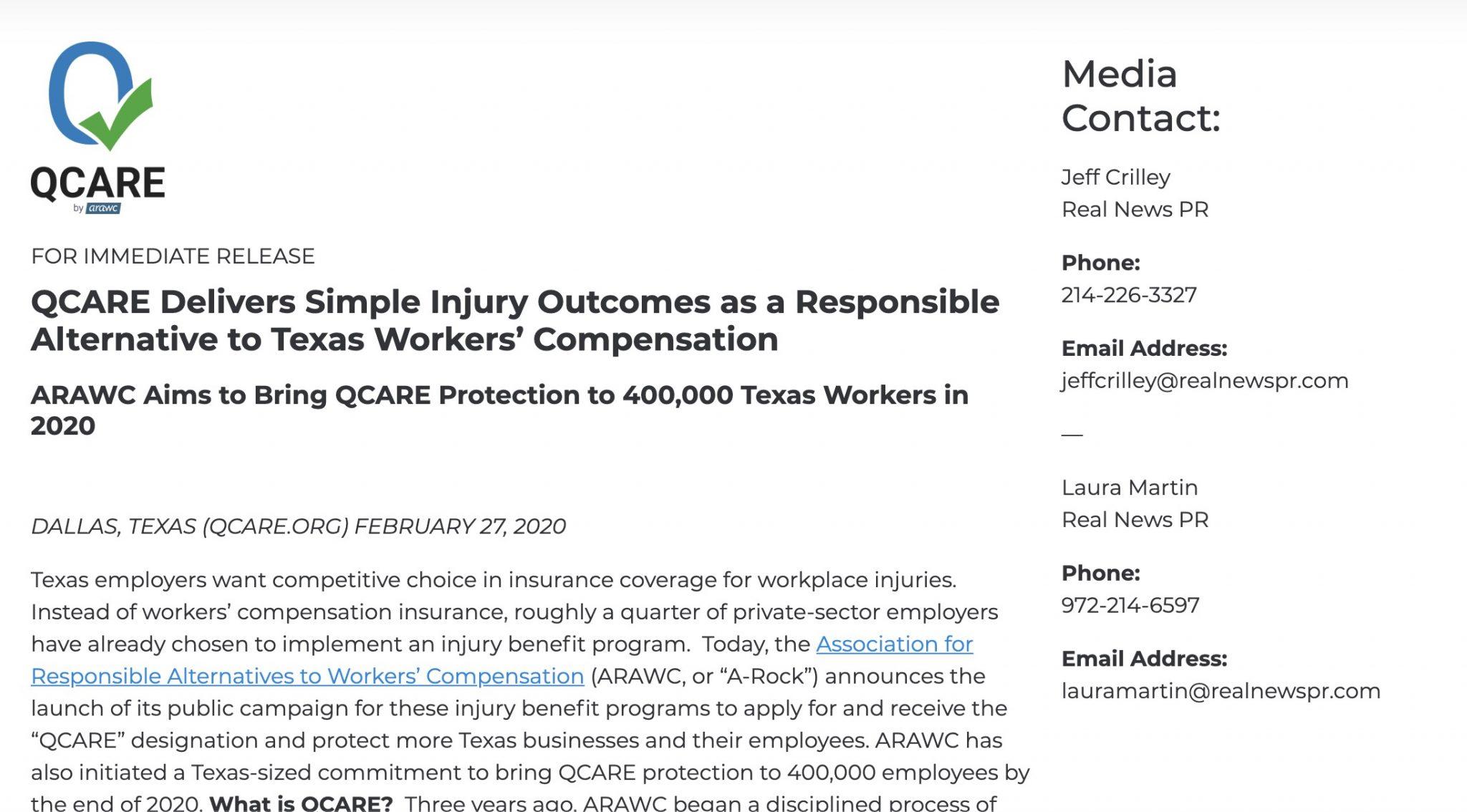 QCARE Press Release
